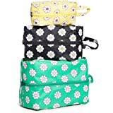 BAGGU 3D Zip Set, Expandable Nylon Zip Pouch 3 Pack For Travel And Organization, Daisy