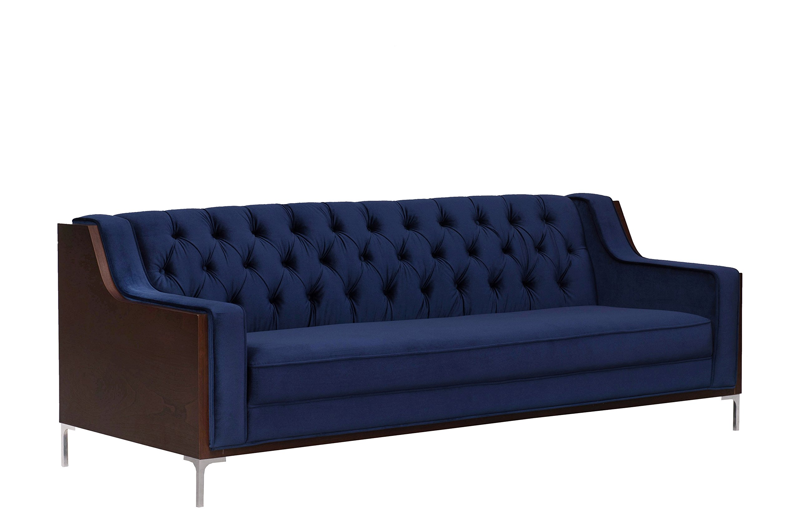 Iconic Home Clark Sofa Button Tufted Velvet Walnut Finish Swoop Arm Wood Frame with Polished Metal Legs, Modern Contemporary, Navy by Iconic Home (Image #4)