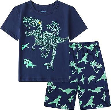 Conjunto de pijama para niños que brillan en la oscuridad, pijama de algodón de manga larga, ropa de dormir para niños de 3 a 10 años