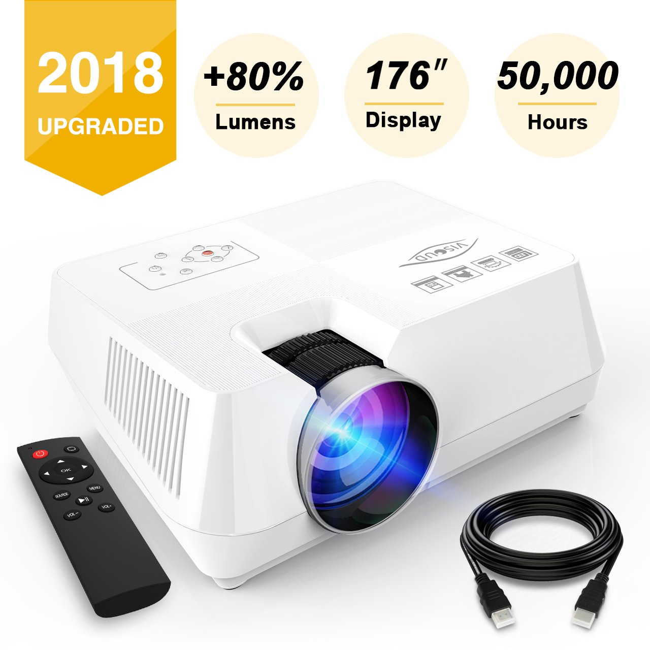 Visoud Mini Portable Projector, 2200 lumen Full HD LED Video Projector Compatible with Fire TV Stick, HDMI, VGA, USB, AV, SD for Home Theater Entertainment by Visoud