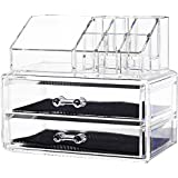 Macallen Cosmetic Make Up Clear Acrylic Organiser with Drawers