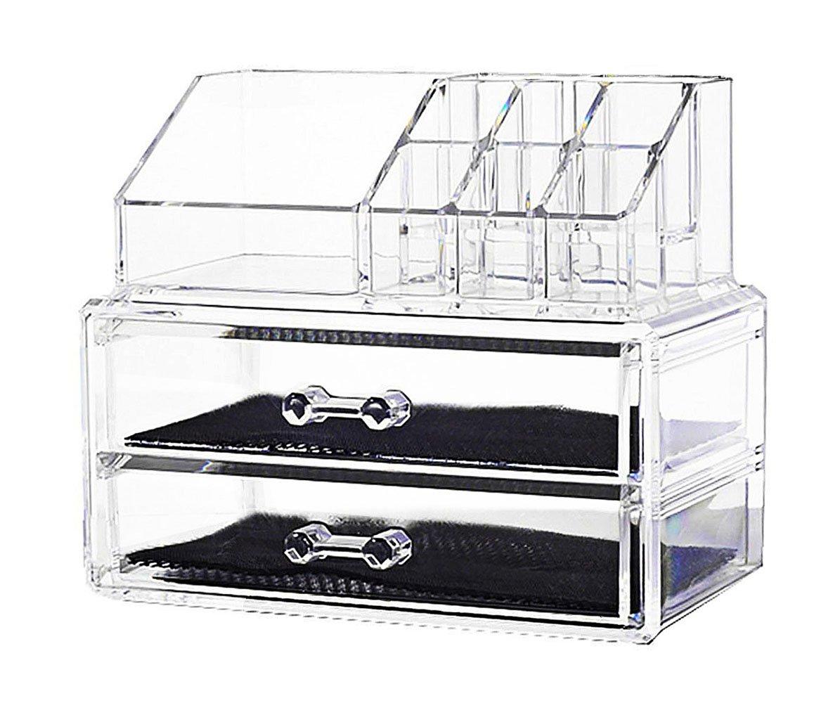Macallen Cosmetic Jewellery Rack Makeup Organizer Box Case Clear 2 Storage Drawers ShuangHeiMaoYi