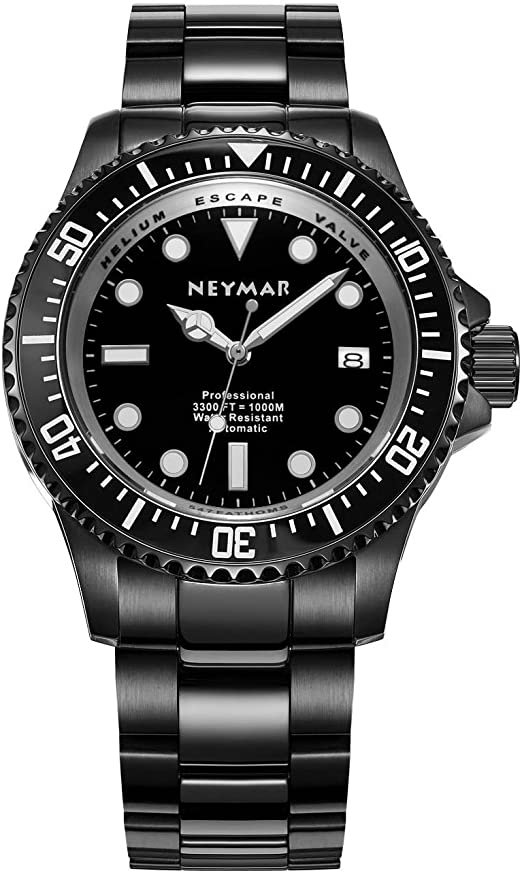 NEYMAR Men's 1000m Diving watch stainless steel Black