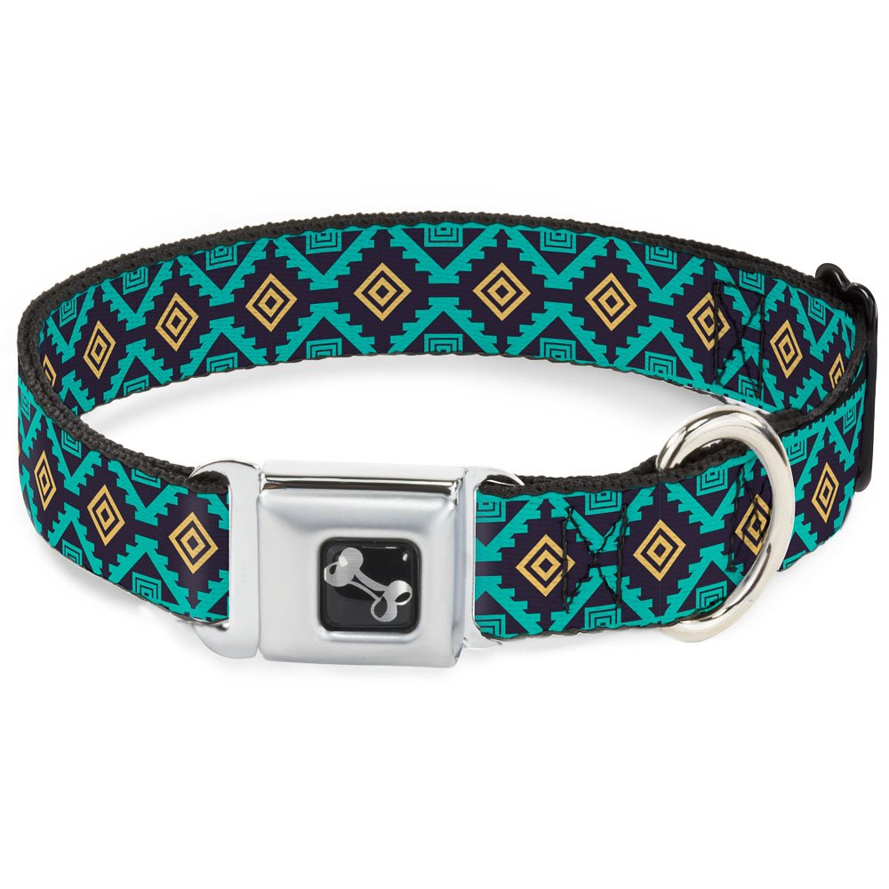 Buckle-Down Seatbelt Buckle Dog Collar Geometric6 Navy Turquoise gold 1.5  Wide Fits 18-32  Neck Large