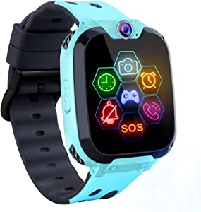 Smart Watch for Kids - Kids Smartwatch Boys Girls Kids Smart Watches with Call Camera 7 Children Learning Games Alarm Clock Music Player Calculator for 4-12 Years Kids Electronic Learning Toys (Blue)