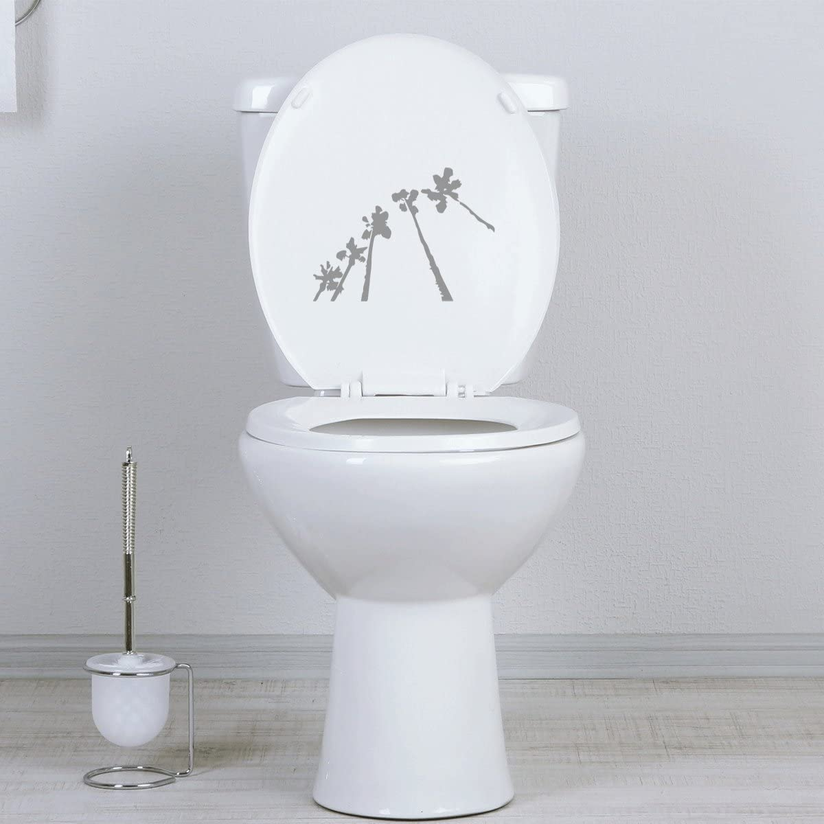 StickAny Bathroom Decal Series Palm Row Up Sticker for Toilet Bowl Bath Seat Black
