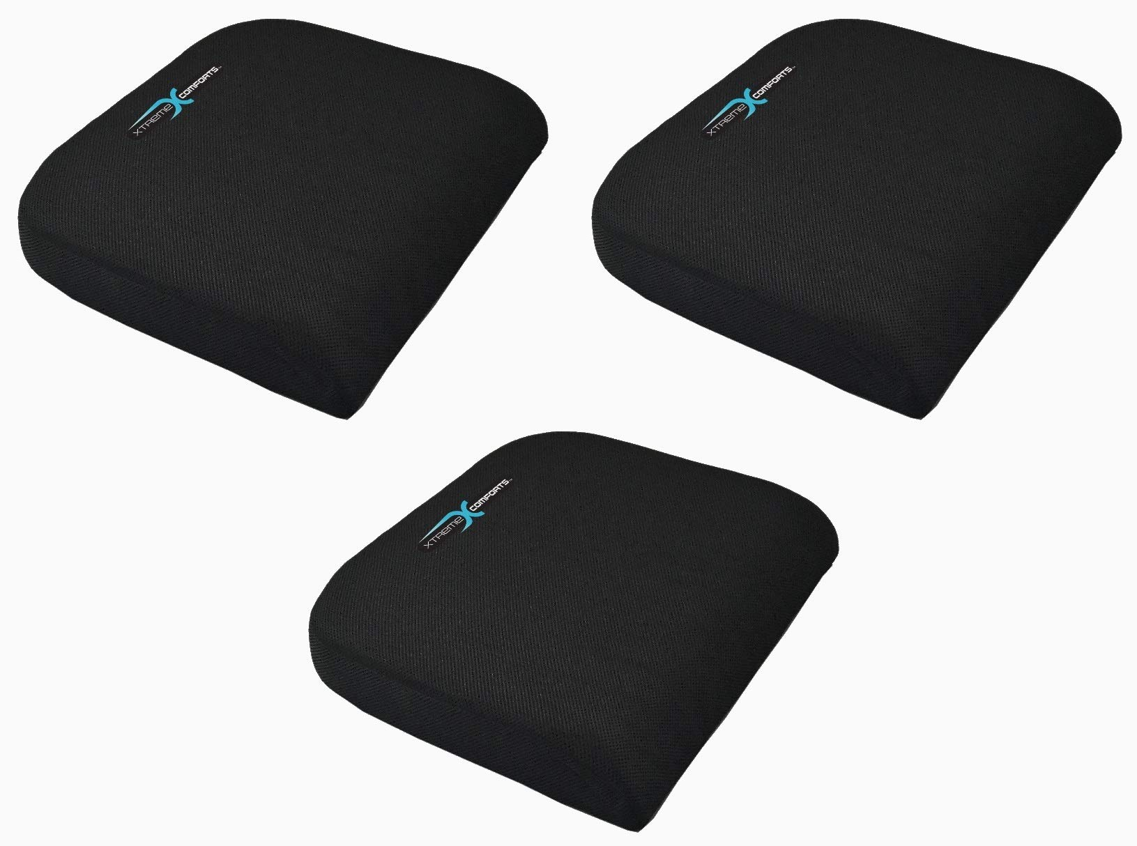 Xtreme Comforts Large Seat Cushion with Carry Handle and Anti Slip Bottom Gives Relief from Back Pain (3 Pack)