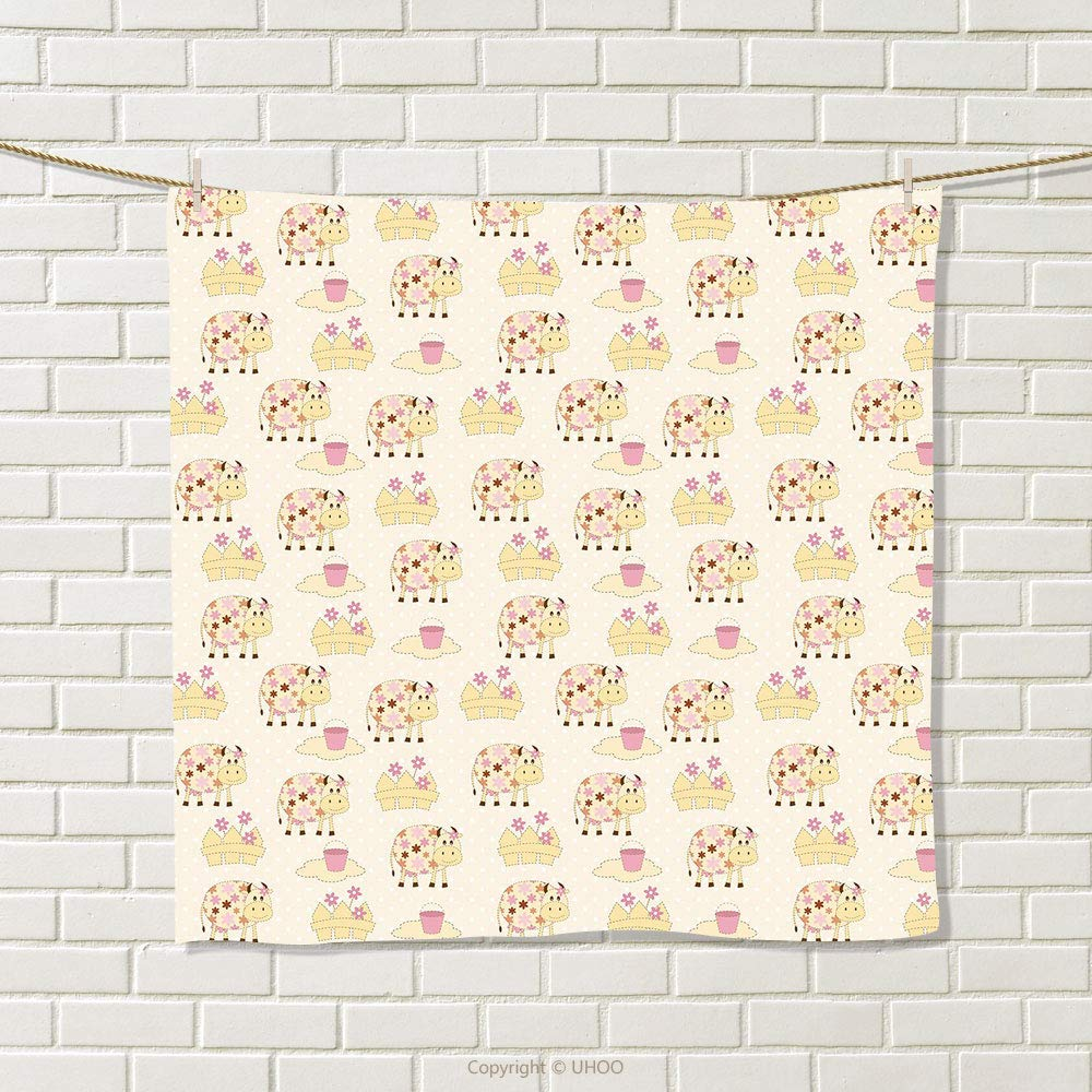 smallbeefly Kids Hand Towel Cows with Flowers on Polka Dots Agriculture Farm Animal Country Life Inspired Quick-Dry Towels Cream Pink Brown Size: W 20'' x L 33'' by smallbeefly (Image #1)
