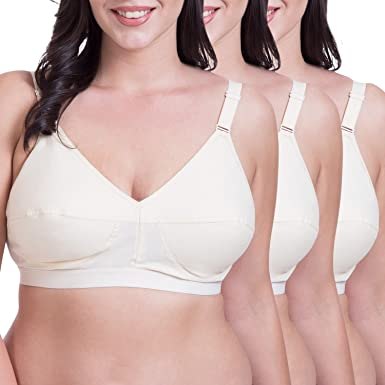 7c104da561e Rajnie Plus Size Non Padded Skin Cotton Bra (Pack of 3)-42B  Amazon ...