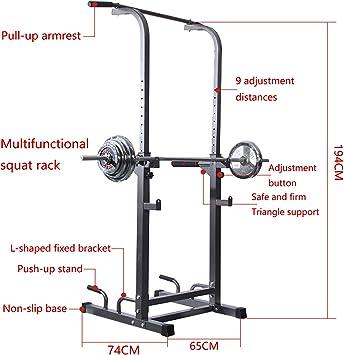 KMKN Rack da Squat Bilanciere Rack,Half Rack Multifunzione Casa Allenamento di Forza Attrezzature Regolabili Pesistica Rack Carica 260 kg