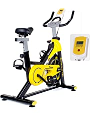 Birtech Upright Exercise Bikes, Indoor Studio Cycles - Hight Quality with Large Flywheel, Belt Drive, 7-Function LCD Display Monitor, IPAD Holder【2019 New Mode】
