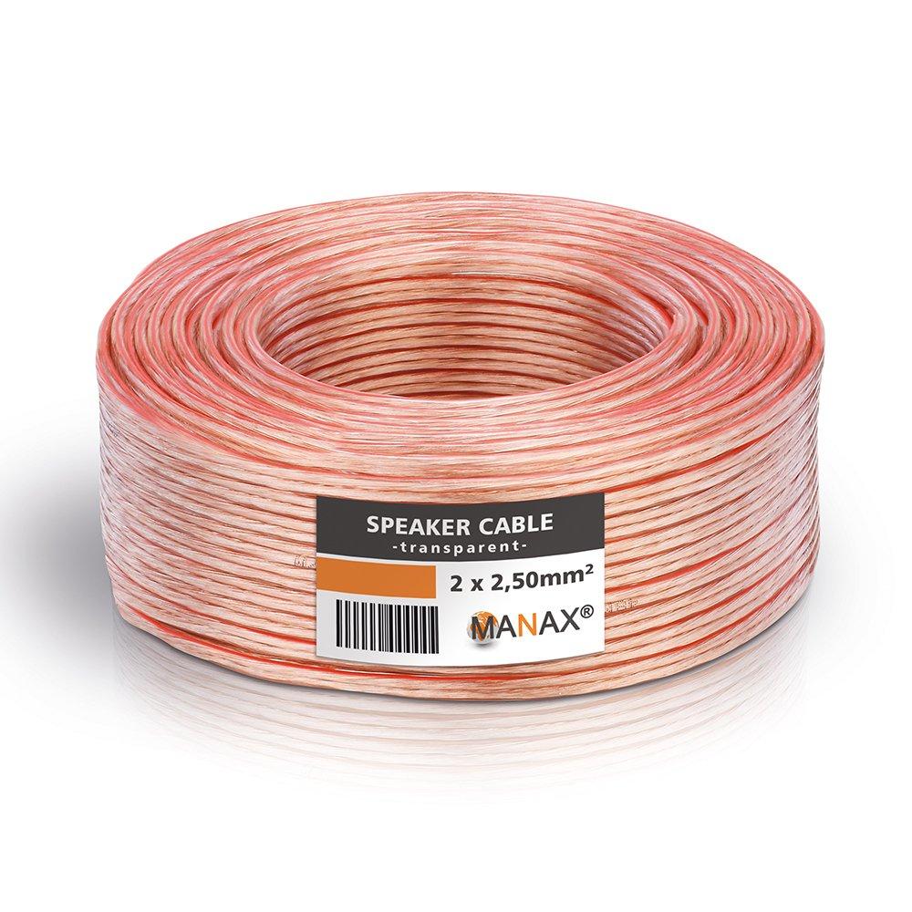 MANAX Cable de altavoz (2 x 2,5 mm², transparente, anillo de 50 m): Amazon.es: Juguetes y juegos