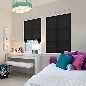 BOBOTOGO Cordless Room Darkening Pleated Shade Black, Cordless Light Filter Pleated Shade, Easy to Cut, 48