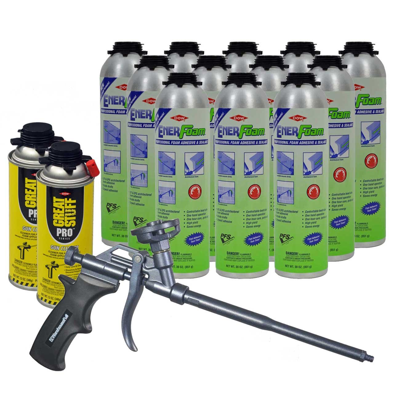Dow Enerfoam 30oz Gun Dispensed Foam (12) + AWF Teflon Pro Foam Gun (1) + Great Stuff Pro foam Gun Cleaner (2) by Great Stuff