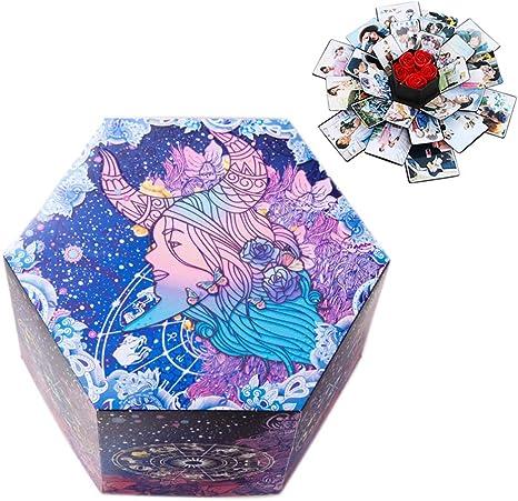 PETSUPPLY Resplandor Explosion Box Scrapbook Creative DIY Photo Album, Caja Sorpresa Regalo De Fotos para Cumpleaños Aniversario Boda San Valentín Día De La Madre Navidad La Caja De Regalo (Tauro): Amazon.es: Hogar