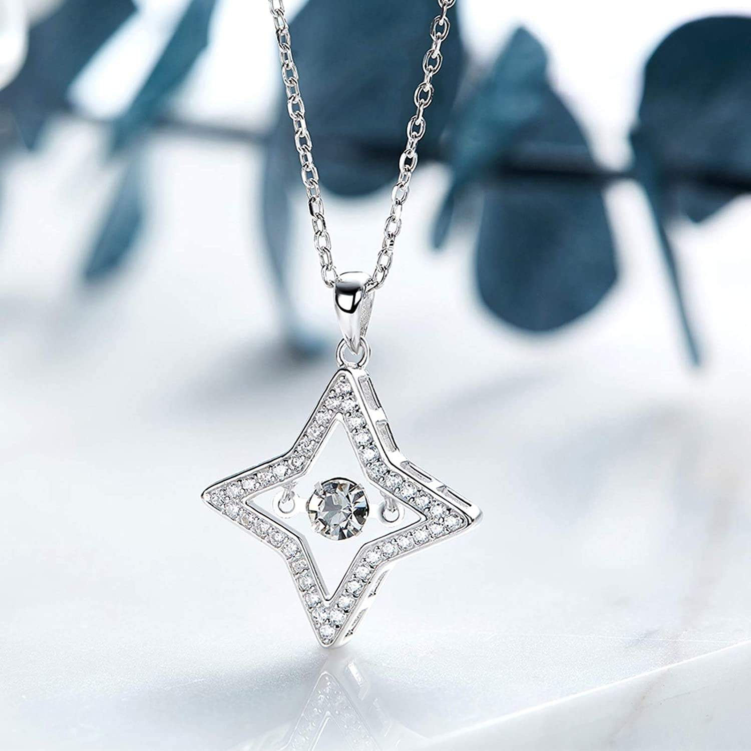 EoCot Silver Plated Star Necklace for Women Round Shape White Cubic Zirconia Pendant Necklaces Birthday Jewellery Gifts