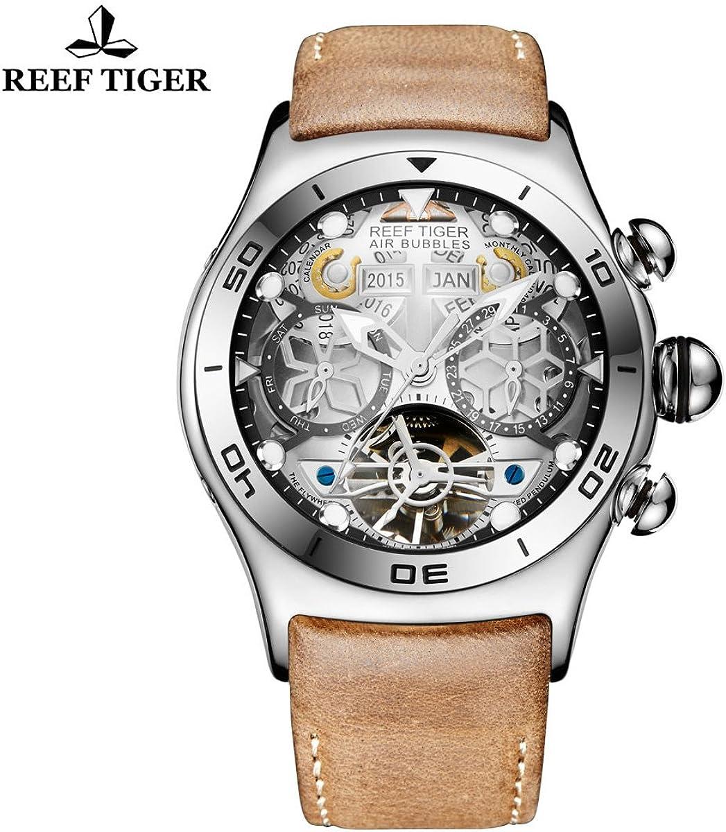 Reef Tiger 男性運動腕時計 スチール 夜光 日付 本革 ブラックダイヤル 腕時計 RGA703