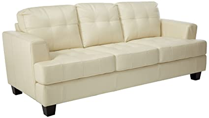 Coaster Samuel Transitional Leather Sofa, Cream