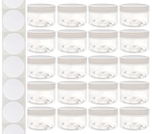 4 Ounce Plastic Wide-Mouth Storage Jars (20 pack) with Labels - Low Profile Straight-Sided Clear Empty Refillable Food-Grade BPA-Free PET Containers with White Screw-On Lids for DIY Beauty, Crafts