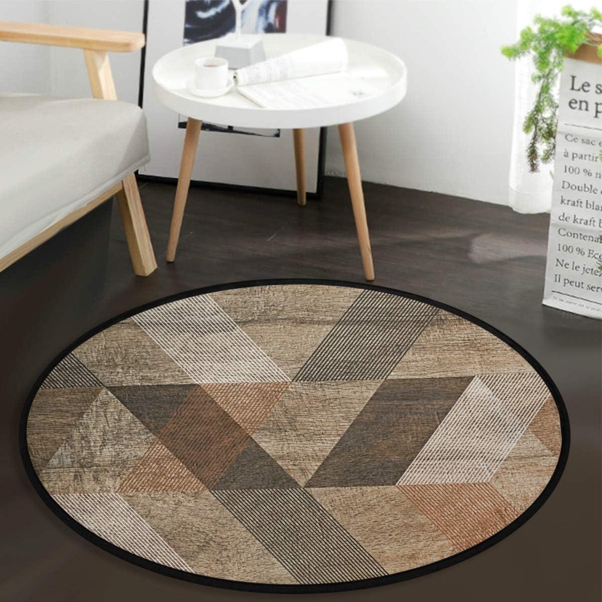 "Winter Snowflake Red Sparkle Doormat Round Floor Mat, Washable Non-Slip Indoor Outdoor Area Rug for Bedroom Living Room Home Decor 36"" (Triangle Brown)"