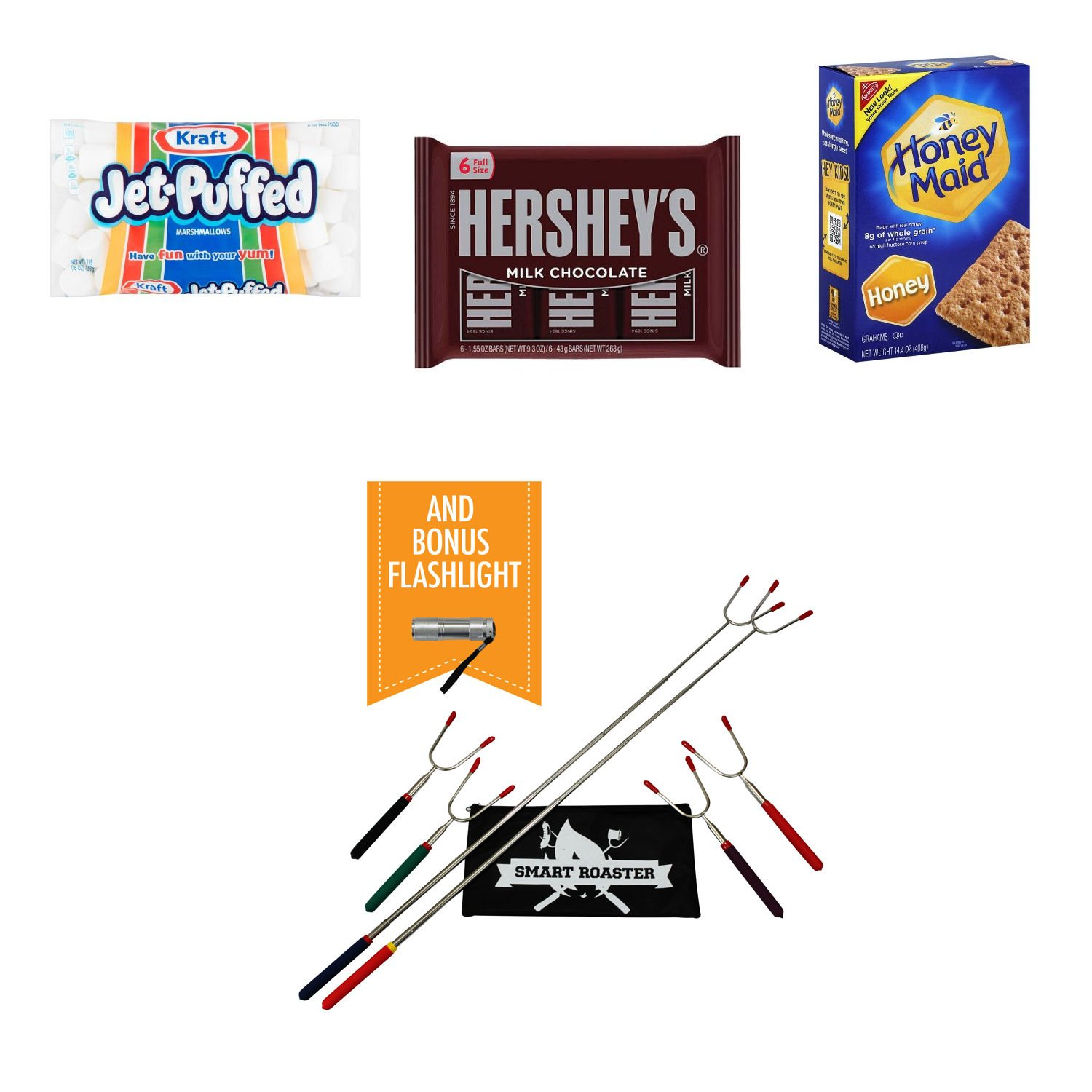 Smores Bundle - Jet Puffed Marshmallows - 6 Hershey Milk Chocolate Bars - Honey Maid Graham Crackers - 6 Roasting Sticks by Smart Roasters