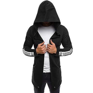 buy good how to get cute cheap Elonglin Men's Hoodies Open Edge Cardigan Hooded Mid-Length ...