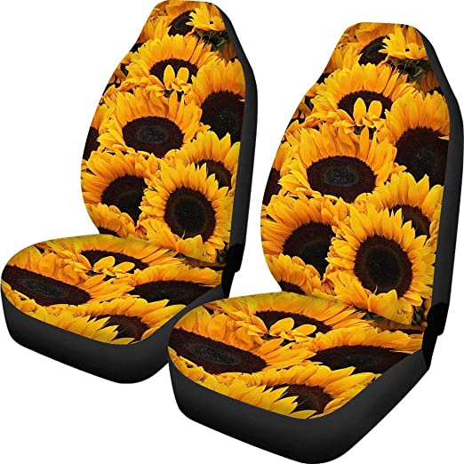Front Bucket Seat Cover for Women Sunflower Print Seat Cover for Universal Cars Vans Trucks SUV