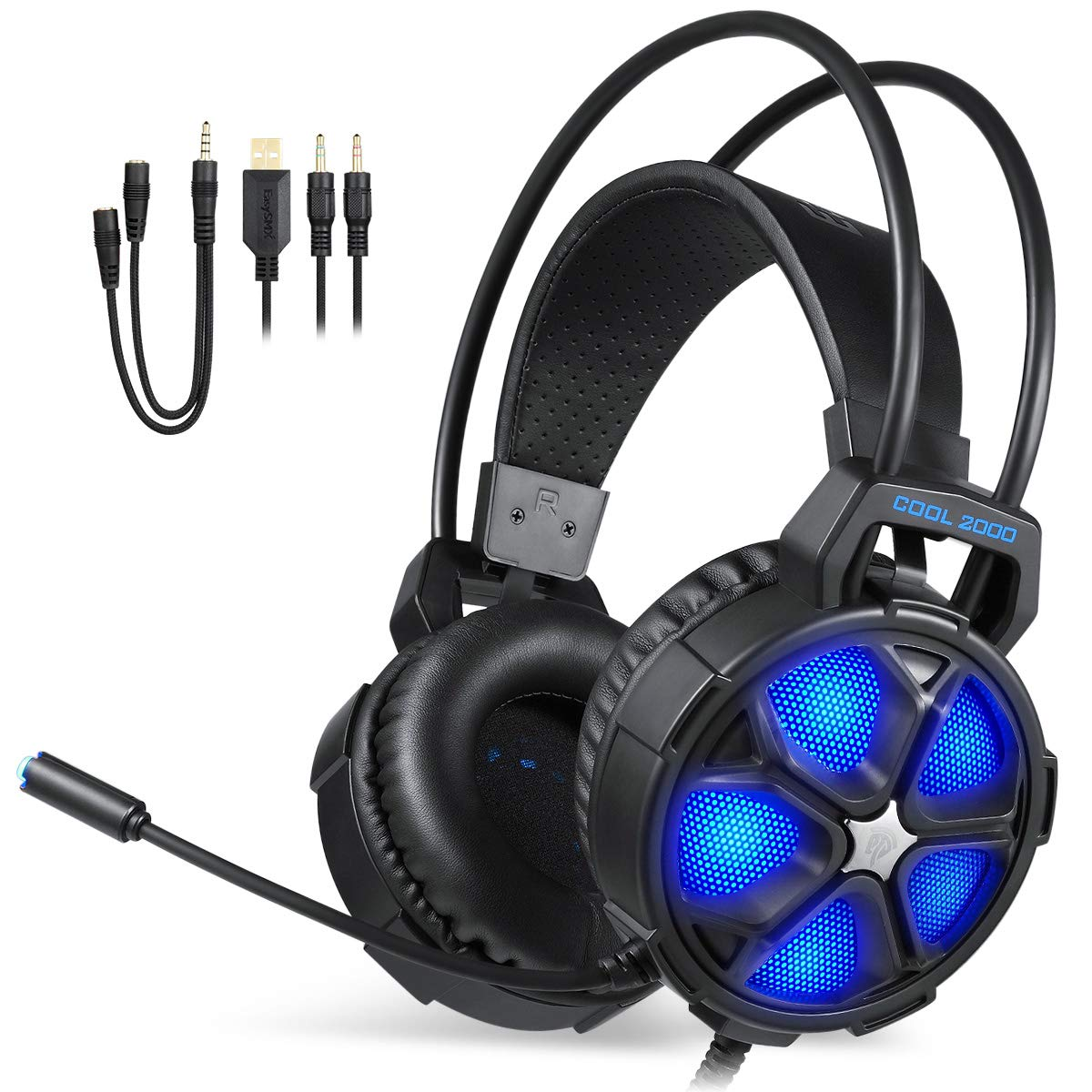 EasySMX Cascos Gaming, Auriculares Gaming con Micrófonos, Auriculares Stereo con Control de Volumen, Cable 2 en 1 y Iluminación LED, Compatible con PC, Mac, Xbox One, PS4, o Móvil ect.