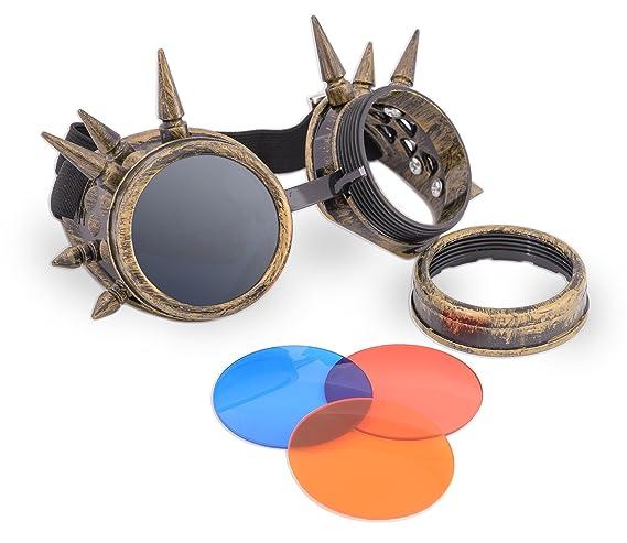 4sold (TM) Steampunk Antique Copper Cyber Goggles Rave Goth Vintage Victorian like Sunglasses all pictures (Schwarz mit Nieten) ddTwZH1