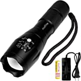 Outlite A100 High Powered Handheld Flashlight, Rechargeable 18650 Battery and Charger Included, Portable LED Tactical Flashlight with Adjustable Focus and 5 Light Modes, Tac Light For Camping Hiking