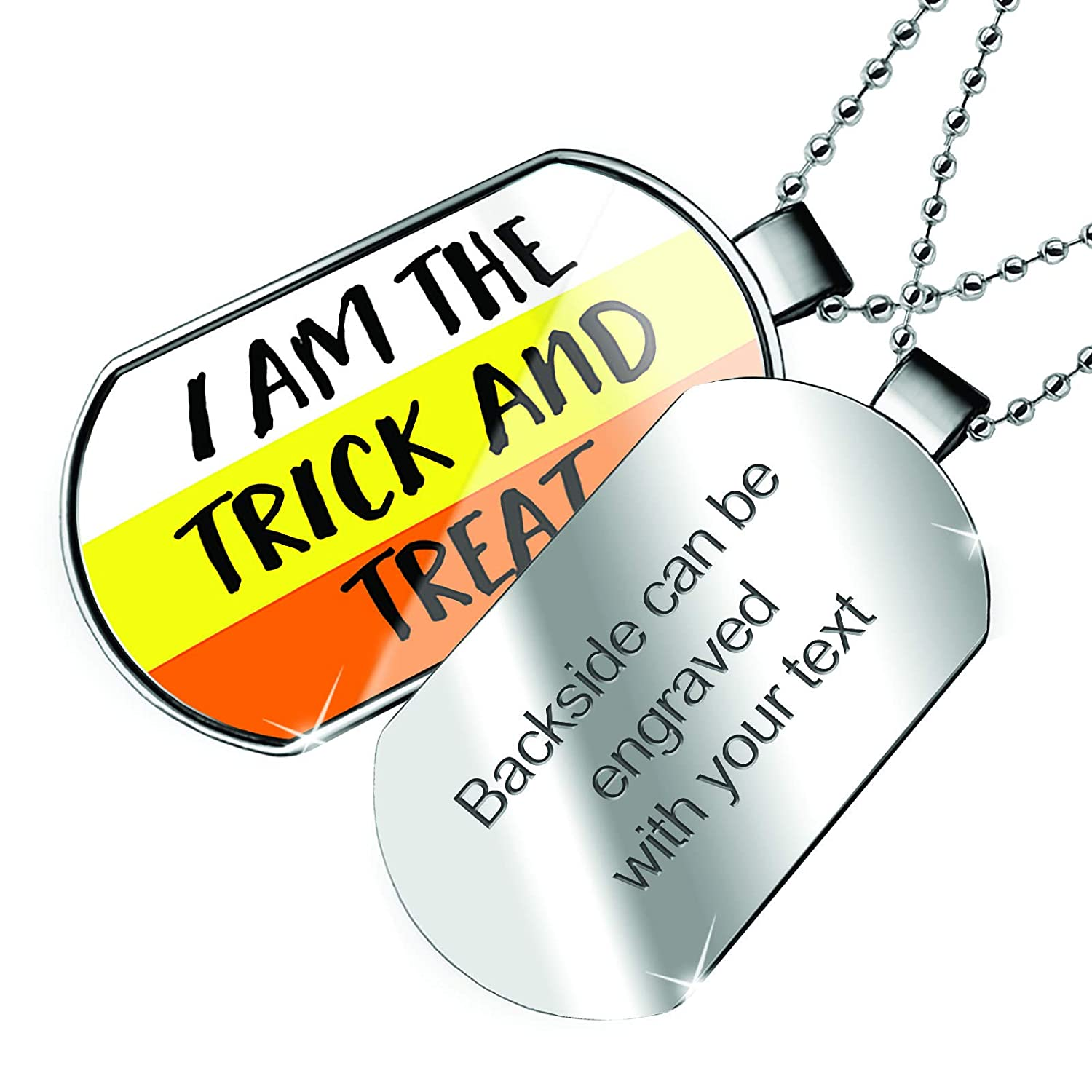 NEONBLOND Personalized Name Engraved I am The Trick and Treat Halloween Candy Corn Dogtag Necklace