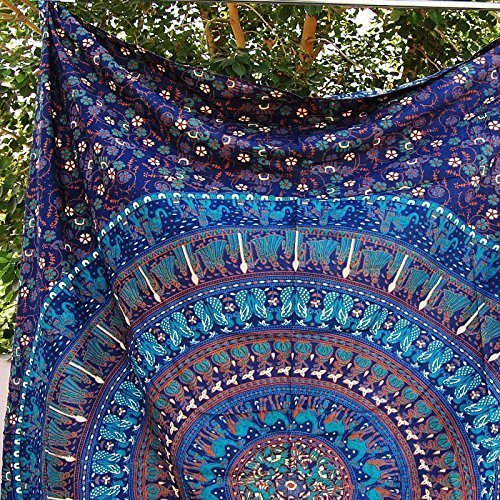 Twin Wall Tapestries - Hanging Mandala Tapestry – Bohemian Beach Picnic Blanket – Hippie Decorative & Psychedelic Dorm Decor - 84 x 54 Inch by Craft N Craft India (Square Hanging Wall)