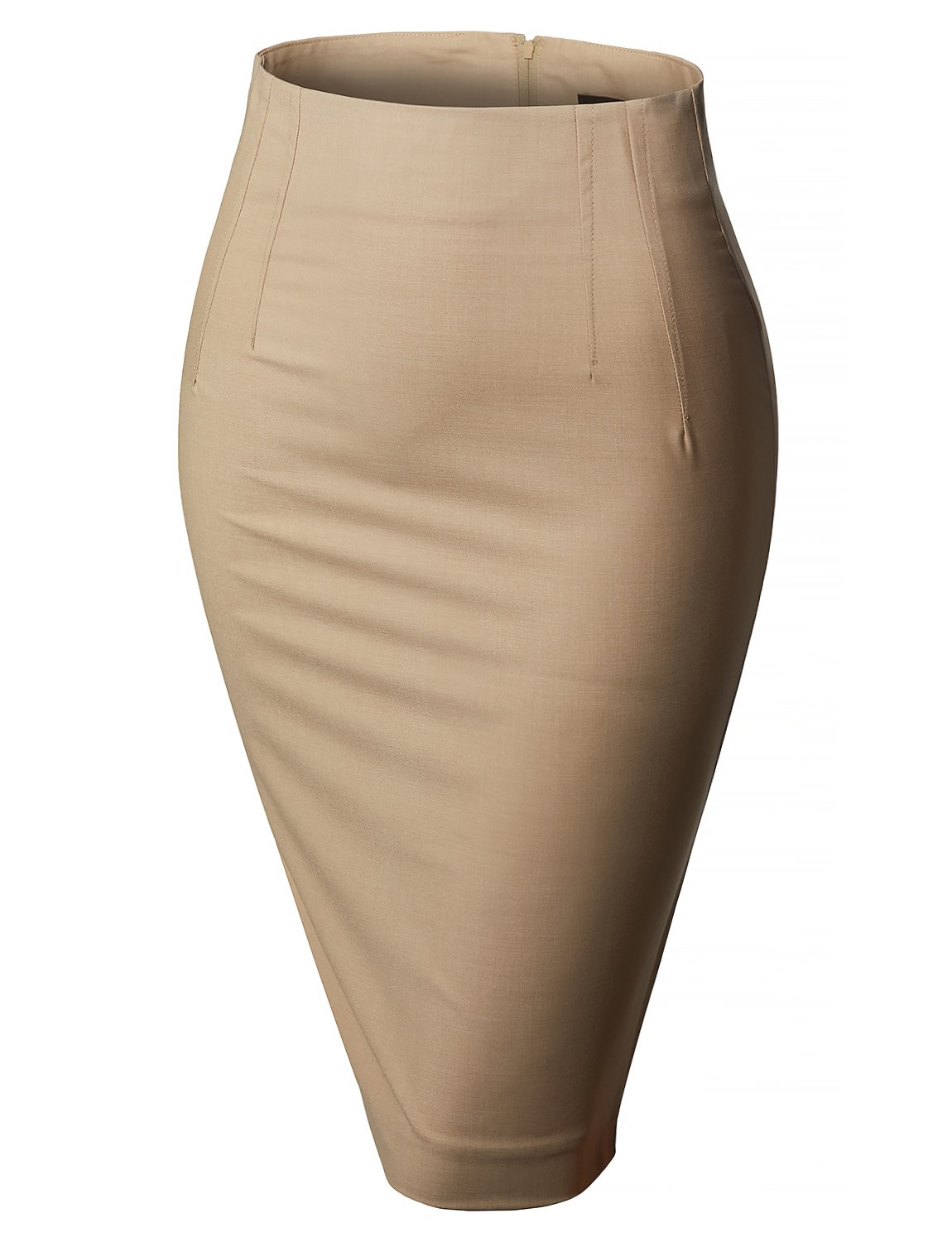 LE3NO Womens High Waisted Pencil Midi Skirt with Stretch L3NWB210