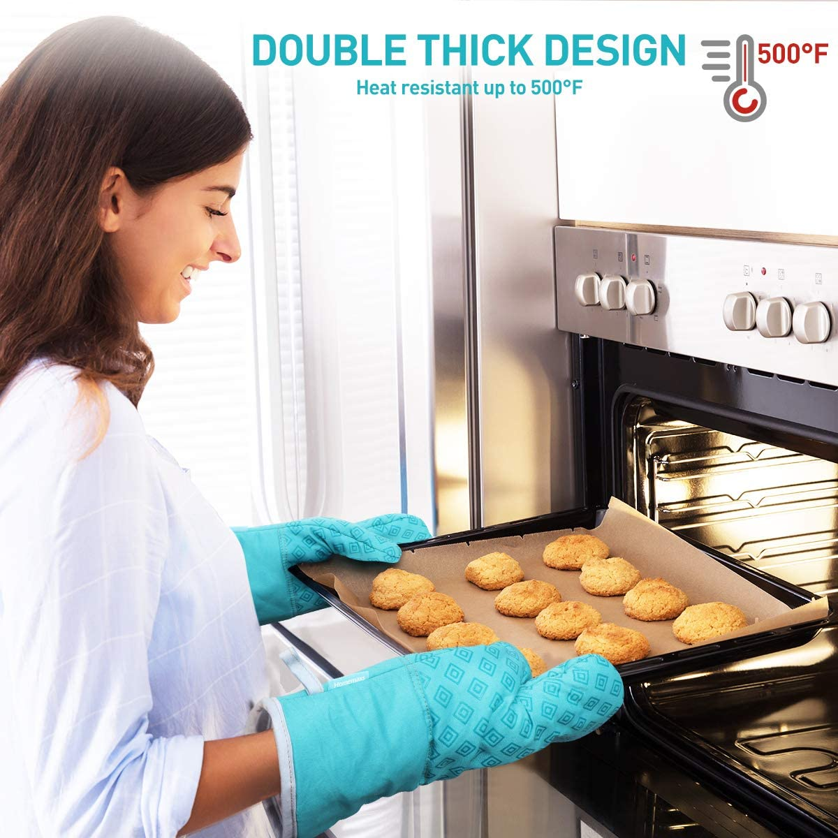 Oven Mitts and Pot Holders 4pcs Set, Heat Resistant Non-Slip Food Grade Kitchen Mitten Silicone Cooking Gloves (Turquoise)