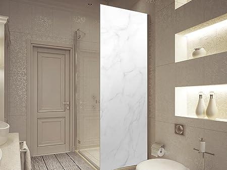 Vinilo para Mamparas Baños Textura Marmol Blanco | Varias Medidas 200x70cm | Adhesivo Resistente y de Fácil Aplicación | Pegatina Adhesiva Decorativa de Diseño Elegante: Amazon.es: Hogar