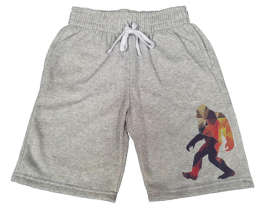 Mens Geometric Fire Bigfoot B136 Gray Fleece Jogger Sweatpants Gym Shorts