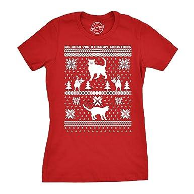 844ad902 Women's 8 Bit Cat Butt T Shirt Funny Ugly Christmas Sweater Shirt Xmas Tee ( red
