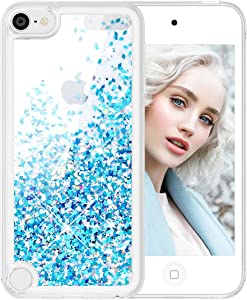 Maxdara iPod Touch 5 6 7 Case, Glitter iPod 5th 6th 7th Generation Case for Girls ChildrenLiquid Bling Sparkle Quicksand Pretty Cute Case for iPod Touch 5th 6th 7th Generation (Blue)