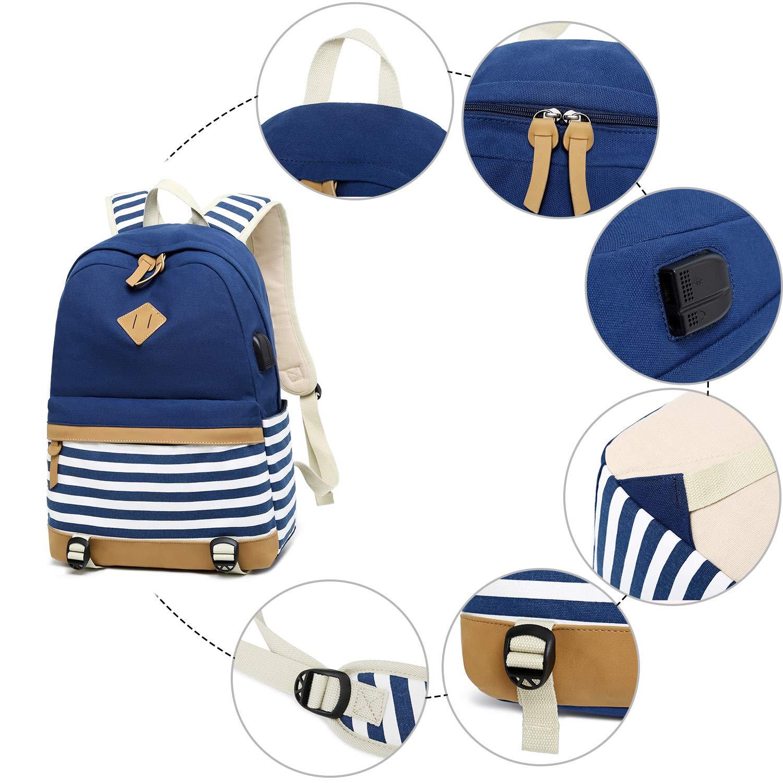 Blau Cassiecy M/ädchen Schulrucksack Canvas Stripe Teenager Daypacks Laptop Rucksack f/ür Schule und Freizeit 2-In-1 Kinder Schulrucksack mit USB Lade Port