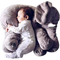 H.BABY Soft Stuffed Elephant Shape Plush Cotton Cushion Pillow for Baby(Grey)