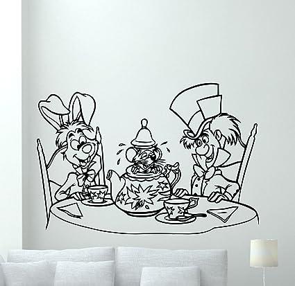 Alice In Wonderland Wall Decal White Rabbit Mad Hatter Vinyl Sticker