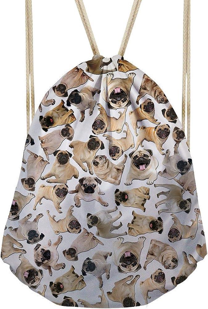 doginthehole Gym Mochila Drawstring Bag Cat Pug Dog Print Kids Girls for School