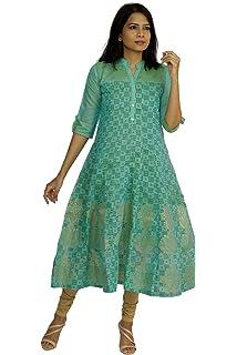 0126fd3e02 South India SHOPPING MALL Women Light Blue Geometric Print Chanderi Kurti
