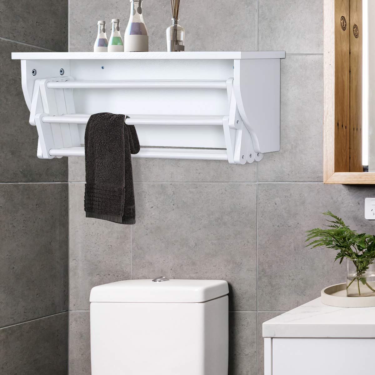 Wall Mount Pull Out Drying Rack For Bathroom Or Laundry Room