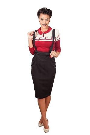 fce80a4fc52c2d SugarShock Damen Glencheck rockabilly Hosenträger Vintage Karo Pencil ROCK  Bleistiftrock