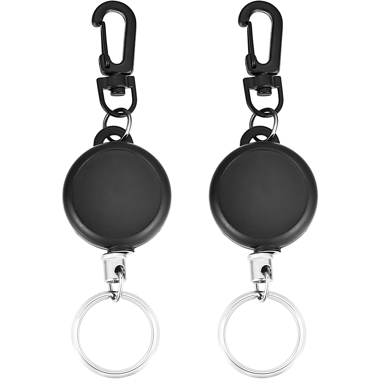 2 Negro Llavero Retr/áctil Carrete de Llave de Tarea Pesada con 23 Pulgadas de Alambre de Acero para Funda de Tarjeta de Identificaci/ón