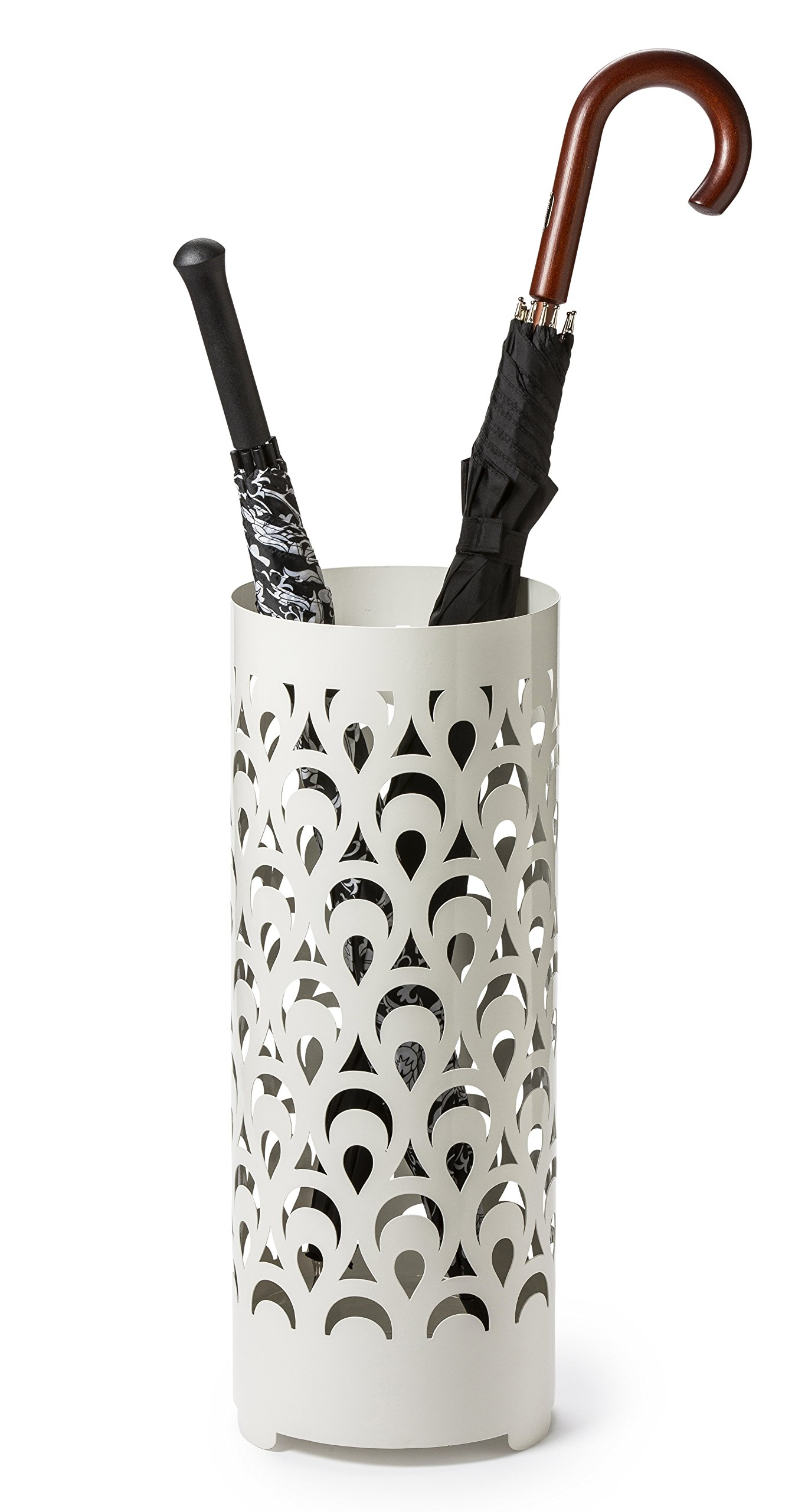 Mango Steam Tall Round Umbrella Holder 21.75 Inches Tall (Peacock White) by Mango Steam