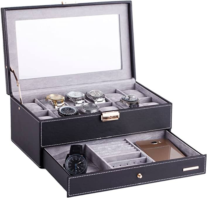 Rowling – Estuche relojero negro de dos niveles con 12 compartimentos: Amazon.es: Joyería