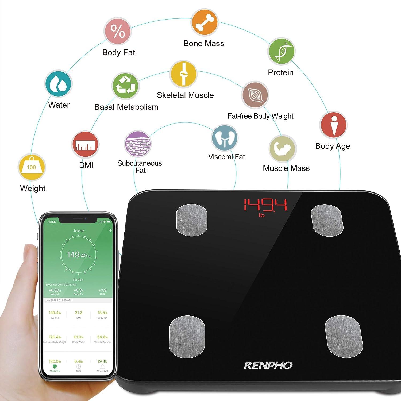 Mesure du Poids,Graisse,Masse Musculaire et Osseuse,Eau,Ecran R/étro/éclair/é P/èse Personne Imp/édancem/ètre,RENPHO Balance Connect/é,P/èse-Personne Bluetooth