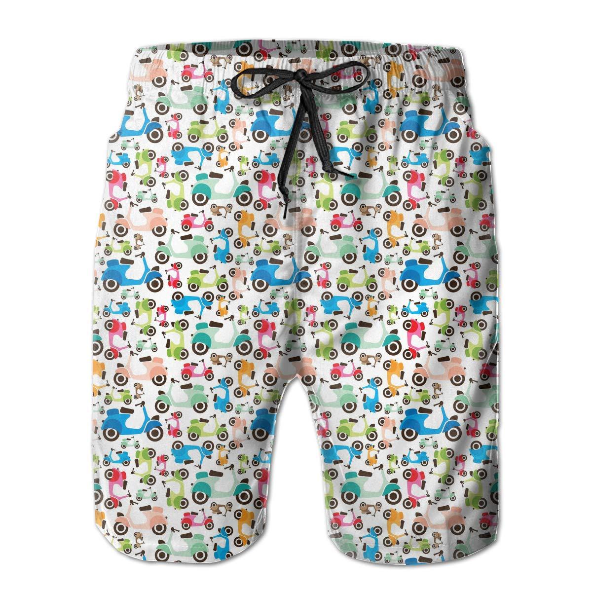 Colorful Electric Vehicle Swim Shorts Mens Swim Trunks Beach Shorts Board Shorts